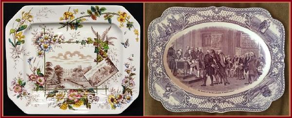 Блюдо Майсенских мастеров. Трансферная печать на керамике, в технике акватинта. Английская мануфактура.