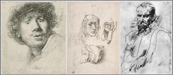"""Рембрандт """"Автопортрет"""". Дюрер Автопортрет с рукой и подушкой. Антонис Ван Дейк-Портрет Питера Брейгеля младшего."""
