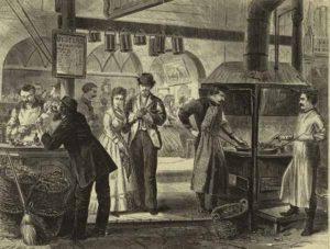 Устричный рынок на Фултон улице в Нью-Йорке