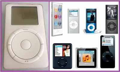 Первый iPod и представители семейства iPod